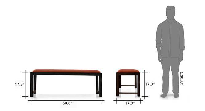 Oribi upholstered dining bench mahogony burnt orange 8