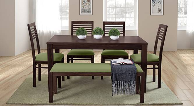 Oribi Upholstered Dining Bench (Mahogany Finish, Avocado Green) by Urban Ladder - Design 1 Details - 329097