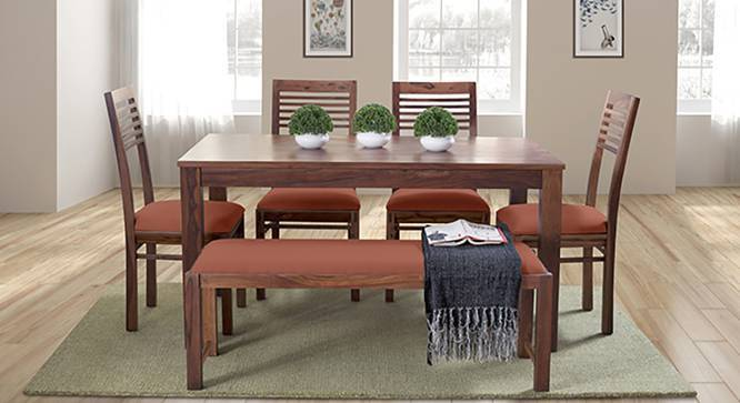 Oribi Upholstered Dining Bench (Teak Finish, Burnt Orange) by Urban Ladder - Design 1 Details - 329114