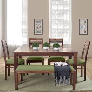 Oribi Upholstered Dining Bench (Teak Finish, Avocado Green) by Urban Ladder - Design 1 Details - 329123