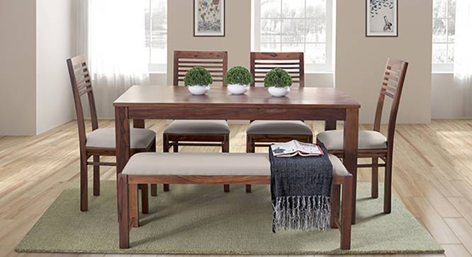 Oribi Upholstered Dining Bench (Teak Finish, Wheat Brown) by Urban Ladder - Design 1 Details - 329132