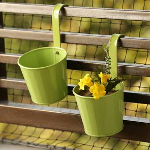 Maink Planter-Set of 2 (Green Gloss) by Urban Ladder - Front View Design 1 - 319336