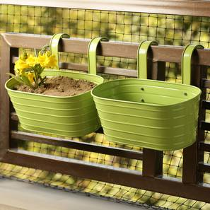 Abhi Planter-Set of 2 (Green Gloss) by Urban Ladder - Front View Design 1 - 319330