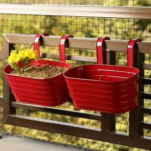 Vedant Planter-Set of 2 (Red Gloss) by Urban Ladder - Front View Design 1 - 319348
