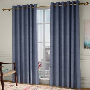 """Amber Blackout Door Curtains - Set Of 2 (Blue, 112 x 274 cm  (44"""" x 108"""") Curtain Size) by Urban Ladder - Design 1 Full View - 324894"""
