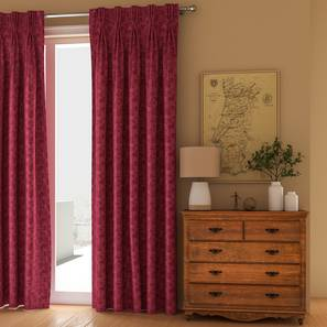 """Arezzo Door Curtains - Set Of 2 (112 x 274 cm  (44"""" x 108"""") Curtain Size, PLUM) by Urban Ladder - Design 1 Full View - 325226"""