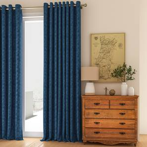 """Arezzo Door Curtains - Set Of 2 (Navy Blue, 112 x 274 cm  (44"""" x 108"""") Curtain Size) by Urban Ladder - Design 1 Full View - 325188"""