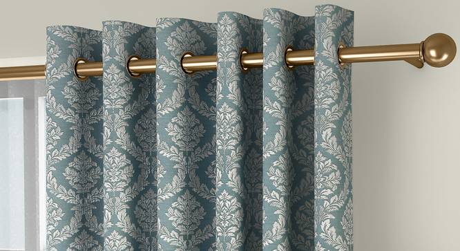 "Pulse Door Curtains - Set Of 2 (71 x 274 cm (28""x108"")  Curtain Size, Bottle Green, American Pleat) by Urban Ladder - Front View Design 1 - 330659"