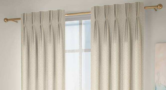 "Pulse Door Curtains - Set Of 2 (Cream, 71 x 274 cm (28""x108"")  Curtain Size, American Pleat) by Urban Ladder - Design 1 Full View - 330681"
