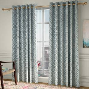 """Pulse Door Curtains - Set Of 2 (132 x 213 cm  (52"""" x 84"""") Curtain Size, Bottle Green, Eyelet Pleat) by Urban Ladder - Design 1 Full View - 330687"""