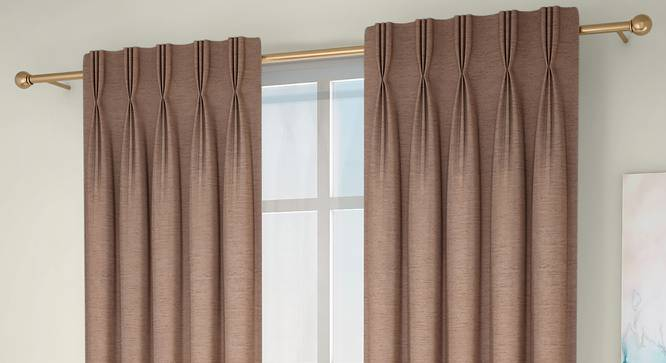 """Tonino Door Curtains - Set Of 2 (Brown, 132 x 274 cm  (52""""x108"""") Curtain Size, Eyelet Pleat) by Urban Ladder - Design 1 Full View - 330745"""