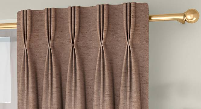 """Tonino Door Curtains - Set Of 2 (Brown, 71 x 274 cm (28""""x108"""")  Curtain Size, American Pleat) by Urban Ladder - Front View Design 1 - 330752"""