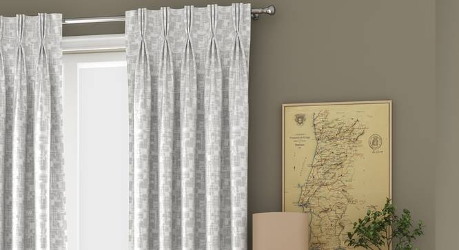 """Arezzo Window Curtains - Set Of 2 (White, 71 x 152 cm (28""""x60"""") Curtain Size, American Pleat) by Urban Ladder - Front View Design 1 - 330757"""