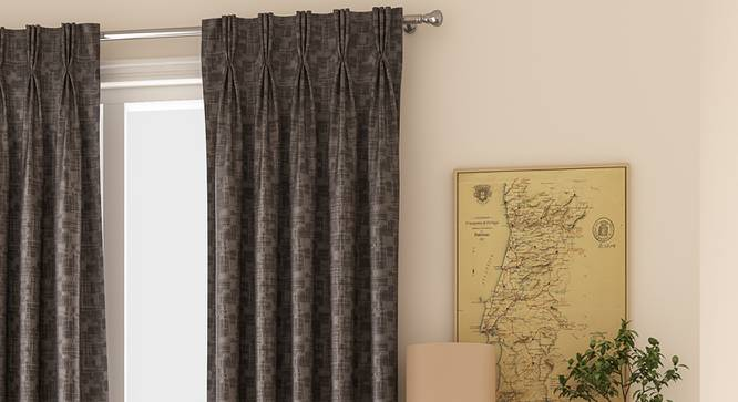 """Arezzo Window Curtains - Set Of 2 (71 x 152 cm (28""""x60"""") Curtain Size, SLATE, American Pleat) by Urban Ladder - Front View Design 1 - 330760"""