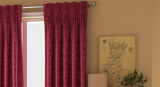"""Arezzo Window Curtains - Set Of 2 (71 x 152 cm (28""""x60"""") Curtain Size, PLUM, American Pleat) by Urban Ladder - Front View Design 1 - 330763"""