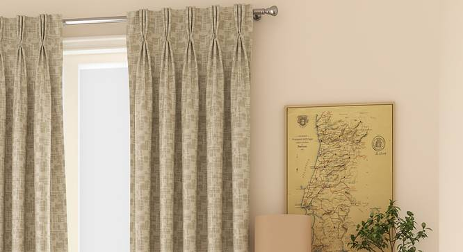 """Arezzo Window Curtains - Set Of 2 (71 x 152 cm (28""""x60"""") Curtain Size, OYSTER, American Pleat) by Urban Ladder - Front View Design 1 - 330766"""