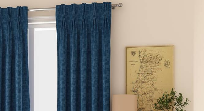 """Arezzo Window Curtains - Set Of 2 (Navy Blue, 71 x 152 cm (28""""x60"""") Curtain Size, American Pleat) by Urban Ladder - Front View Design 1 - 330769"""