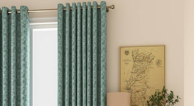 """Arezzo Window Curtains - Set Of 2 (Aqua, 132 x 152 cm  (52"""" x 60"""") Curtain Size, Eyelet Pleat) by Urban Ladder - Front View Design 1 - 330783"""
