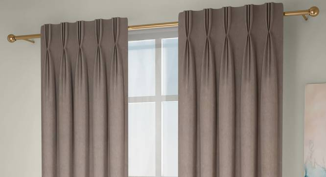 "Amber Blackout Window Curtains - Set Of 2 (Beige, 71 x 152 cm (28""x60"") Curtain Size, American Pleat) by Urban Ladder - Front View Design 1 - 330800"