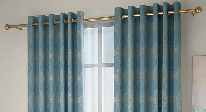 """Abetti Window Curtains - Set Of 2 (Turquoise, 132 x 152 cm  (52"""" x 60"""") Curtain Size, Eyelet Pleat) by Urban Ladder - Front View Design 1 - 330803"""