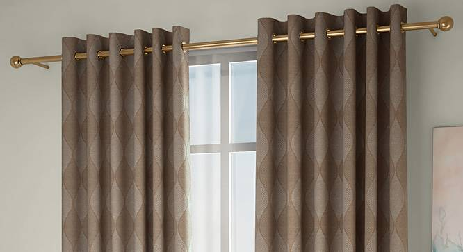 """Abetti Window Curtains - Set Of 2 (Brown, 132 x 152 cm  (52"""" x 60"""") Curtain Size, Eyelet Pleat) by Urban Ladder - Front View Design 1 - 330815"""