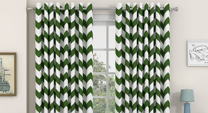 """Chevron Door Curtains - Set Of 2 (Green, 112 x 213 cm  (44"""" x 84"""") Curtain Size) by Urban Ladder - Front View Design 1 - 330837"""