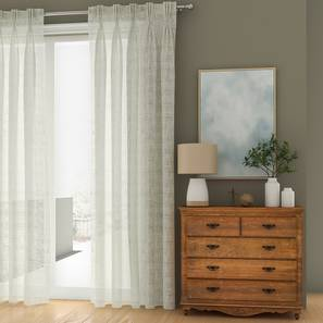 """Elegance Sheer Window Curtains - Set Of 2 (Ivory, American Pleat, 56 x 152 cm  (22"""" x 60"""") Curtain Size) by Urban Ladder - Front View Design 1 - 330840"""