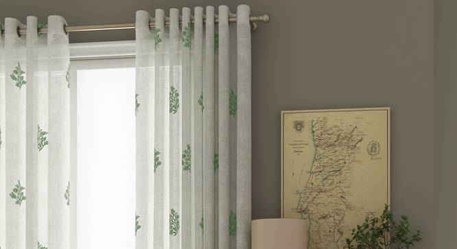 "Jaisalmer Sheer Window Curtains - Set Of 2 (Green, 112 x 152 cm  (44"" x 60"") Curtain Size) by Urban Ladder - Front View Design 1 - 330852"