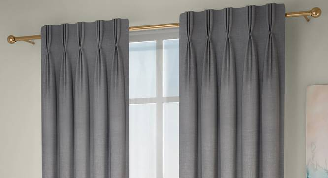 """Frizzle Window Curtains - Set Of 2 (Grey, 71 x 152 cm (28""""x60"""") Curtain Size, American Pleat) by Urban Ladder - Front View Design 1 - 330861"""