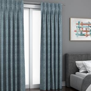 """Bark Window Curtains - Set Of 2 (Blue, 132 x 152 cm  (52"""" x 60"""") Curtain Size, Eyelet Pleat) by Urban Ladder - Front View Design 1 - 330879"""