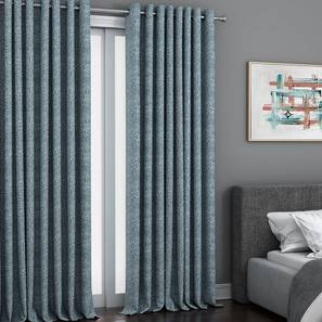"""Bark Window Curtains - Set Of 2 (Blue, 71 x 152 cm (28""""x60"""") Curtain Size, American Pleat) by Urban Ladder - Front View Design 1 - 330882"""