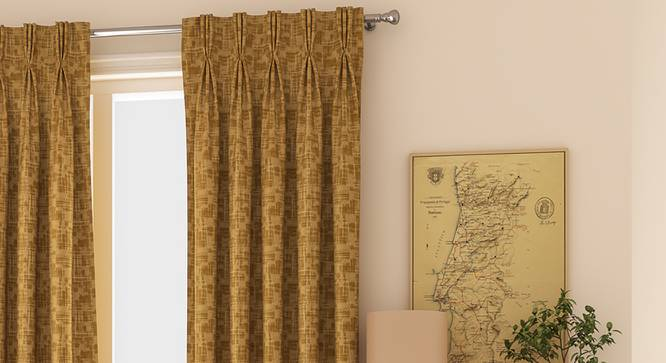 """Arezzo Window Curtains - Set Of 2 (Sand, 71 x 152 cm (28""""x60"""") Curtain Size, American Pleat) by Urban Ladder - Front View Design 1 - 330888"""