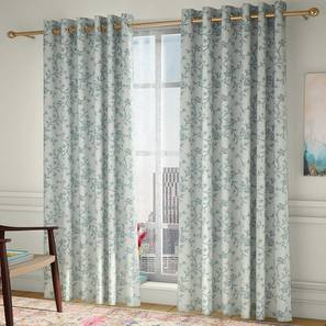 """Pazaz Door Curtains - Set Of 2 (Turquoise, 132 x 213 cm  (52"""" x 84"""") Curtain Size, Eyelet Pleat) by Urban Ladder - Front View Design 1 - 330893"""