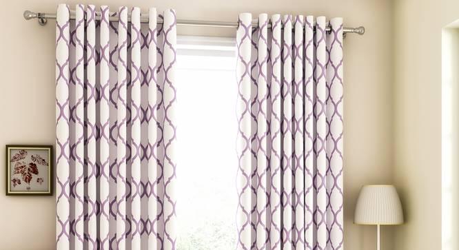 "Taj Window Curtains - Set Of 2 (Purple, 132 x 152 cm  (52"" x 60"") Curtain Size, Eyelet Pleat) by Urban Ladder - Front View Design 1 - 330907"