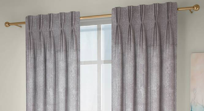 """Simone Window Curtains - Set Of 2 (Grey, 71 x 152 cm (28""""x60"""") Curtain Size, American Pleat) by Urban Ladder - Front View Design 1 - 330915"""