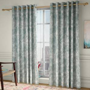"""Simone Window Curtains - Set Of 2 (Green, 132 x 152 cm  (52"""" x 60"""") Curtain Size, Eyelet Pleat) by Urban Ladder - Front View Design 1 - 330924"""