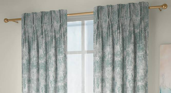 """Simone Window Curtains - Set Of 2 (Green, 71 x 152 cm (28""""x60"""") Curtain Size, American Pleat) by Urban Ladder - Front View Design 1 - 330927"""