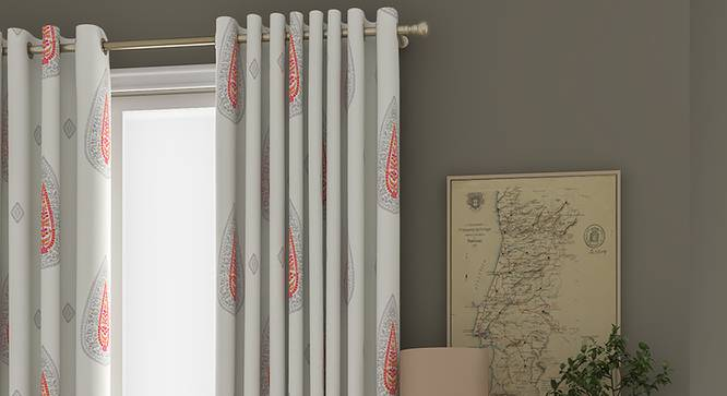 """Sahara Window Curtains - Set Of 2 (132 x 152 cm  (52"""" x 60"""") Curtain Size, Eyelet Pleat) by Urban Ladder - Front View Design 1 - 330930"""