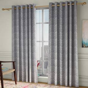 """Pulse Window Curtains - Set Of 2 (Grey, 132 x 152 cm  (52"""" x 60"""") Curtain Size, Eyelet Pleat) by Urban Ladder - Front View Design 1 - 330936"""