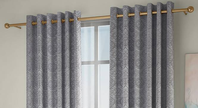 "Pulse Window Curtains - Set Of 2 (Grey, 132 x 152 cm  (52"" x 60"") Curtain Size, Eyelet Pleat) by Urban Ladder - Front View Design 1 - 330936"