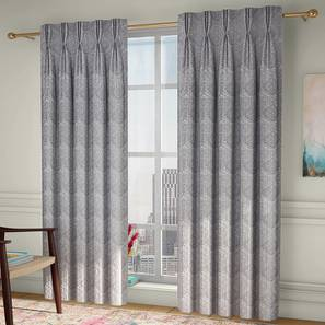 """Pulse Window Curtains - Set Of 2 (Grey, 71 x 152 cm (28""""x60"""") Curtain Size, American Pleat) by Urban Ladder - Front View Design 1 - 330942"""