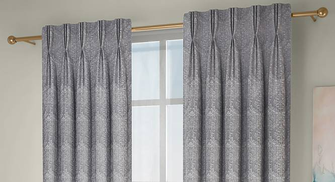"Pulse Window Curtains - Set Of 2 (Grey, 71 x 152 cm (28""x60"") Curtain Size, American Pleat) by Urban Ladder - Front View Design 1 - 330942"