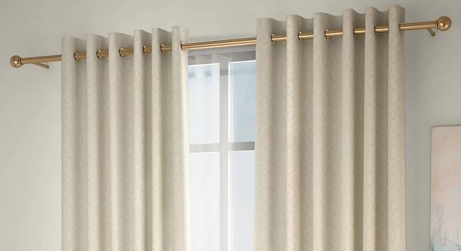 """Pulse Window Curtains - Set Of 2 (Cream, 132 x 152 cm  (52"""" x 60"""") Curtain Size, Eyelet Pleat) by Urban Ladder - Front View Design 1 - 330945"""