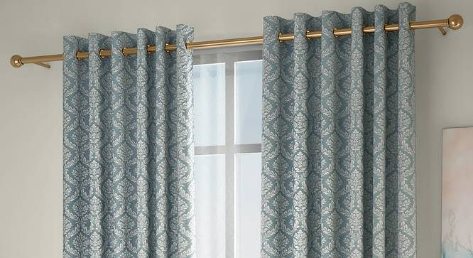 "Pulse Window Curtains - Set Of 2 (Green, 132 x 152 cm  (52"" x 60"") Curtain Size, Eyelet Pleat) by Urban Ladder - Front View Design 1 - 330948"
