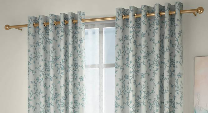 """Pazaz Window Curtains - Set Of 2 (Turquoise, 132 x 152 cm  (52"""" x 60"""") Curtain Size, Eyelet Pleat) by Urban Ladder - Front View Design 1 - 330954"""