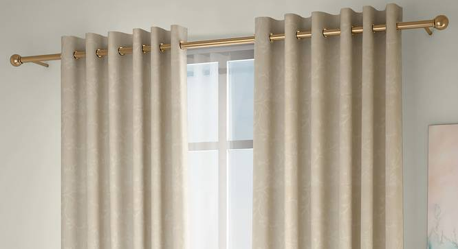 "Pazaz Window Curtains - Set Of 2 (Cream, 132 x 152 cm  (52"" x 60"") Curtain Size, Eyelet Pleat) by Urban Ladder - Front View Design 1 - 330957"