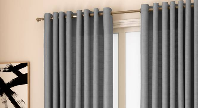 "Milano Window Curtains - Set Of 2 (Grey, 132 x 152 cm  (52"" x 60"") Curtain Size, Eyelet Pleat) by Urban Ladder - Front View Design 1 - 330960"