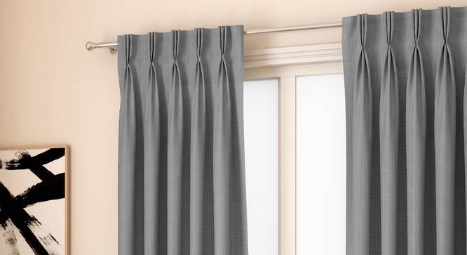 "Milano Window Curtains - Set Of 2 (Grey, 71 x 152 cm (28""x60"") Curtain Size, American Pleat) by Urban Ladder - Front View Design 1 - 330963"