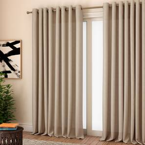 """Milano Window Curtains - Set Of 2 (Beige, 132 x 152 cm  (52"""" x 60"""") Curtain Size, Eyelet Pleat) by Urban Ladder - Front View Design 1 - 330966"""