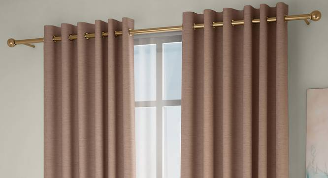 "Tonino Window Curtains - Set Of 2 (Brown, 132 x 152 cm  (52"" x 60"") Curtain Size, Eyelet Pleat) by Urban Ladder - Front View Design 1 - 330969"